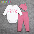 3Piece/0-18Months/Spring Autumn Newborn Baby Clothes Cartoon Rompers Bodysuits+Pants+Hats Infant Boys Girls Clothing Sets BC1089