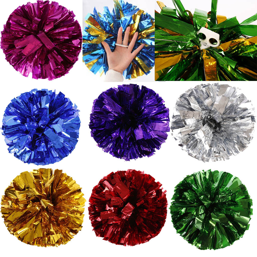Metallic Foil And Plastic Ring Handheld Pom Poms Cheerleading Party Decor Refueling props tassel design flower ball