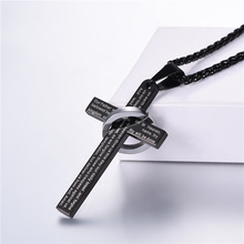 Collare Cross Pendant Bible Verse Men Wholesale 316L Stainless Steel Christian Jewelry Gold/Black Color Necklace Women P989