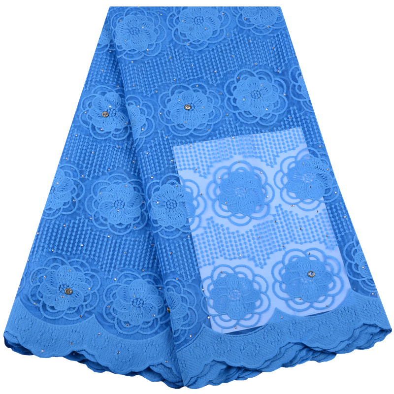 New Arrival Blue Color African Guipure Cord Lace Fabric High Quality French Milk Silk Lace Fabric