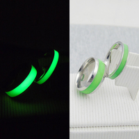 Original Luminous Ring Glow In The Dark Green Fluorescent Glowing Fashion Silver Men Rings For