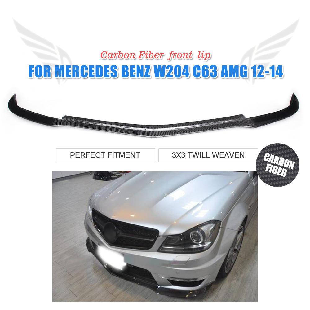 Carbon fiber front bumper lip Chin Spoiler for Mercedes-Benz C Class W204 C63 AMG bumper 2012 2013 2014