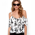 Short sleeve strappy cold shoulder blouses women summer black button down open back sexy tops ladies white ruffled print shirts