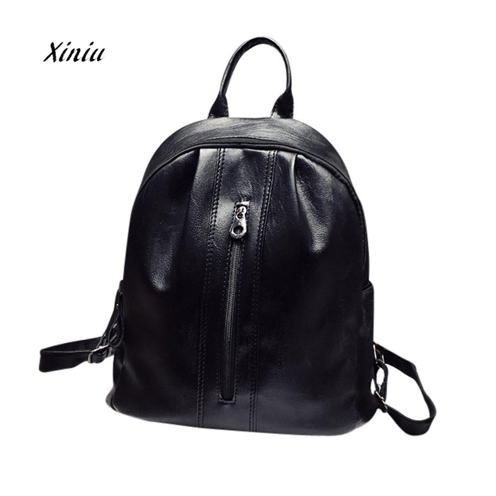 2018 New Womens Fashion Solid ZIpper Shoulder Bags Backpack Travel Rucksack Girls PU Leather Zipper School Bag Laptop Backpacks