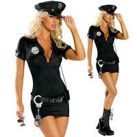 할로윈 의상 경찰 코스프레 의상 Bodycon 드레스 섹시한 V 넥 경찰 유니폼 의상 파티 모자 수갑 블랙 S-2XL