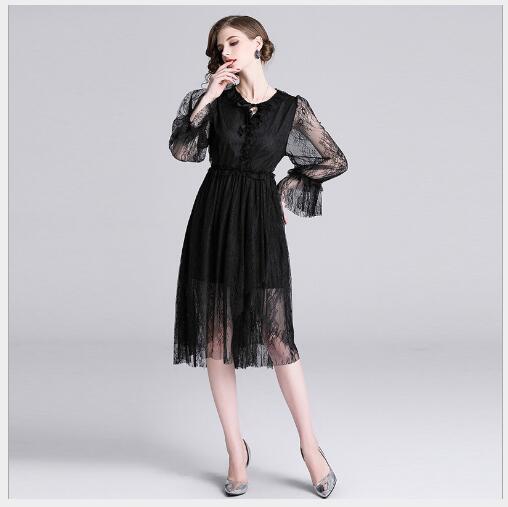 Robe Manches Black Maille Mode Femmes ligne Fit Femme Haute A Printemps Manteaux Casual O Solide Qualité Longues 2019 Slim cou À Nouveau SzpqMUV