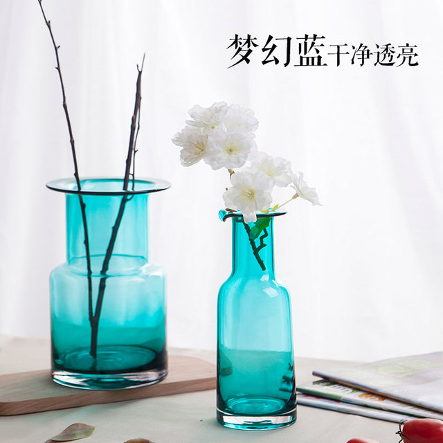 Aliexpress Buy Xxxg Simple Blue Transparent Glass Vase Modern