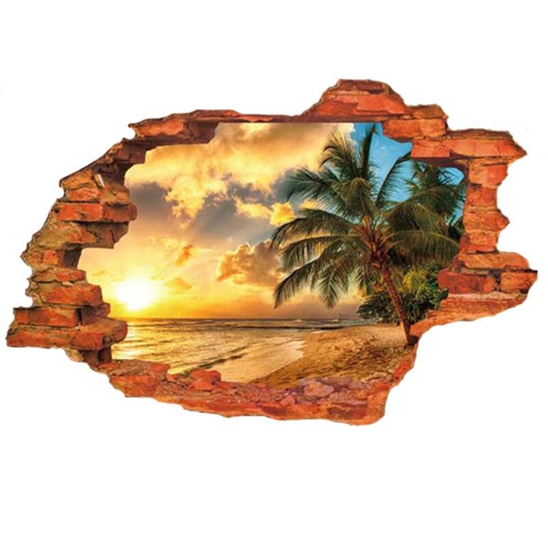 3D DIY Beach Scenery Vinyl Wall Stickers Nautical Decor Office Adesivo De Pared Art Decals Home Decor Wallpaper For Bedroom