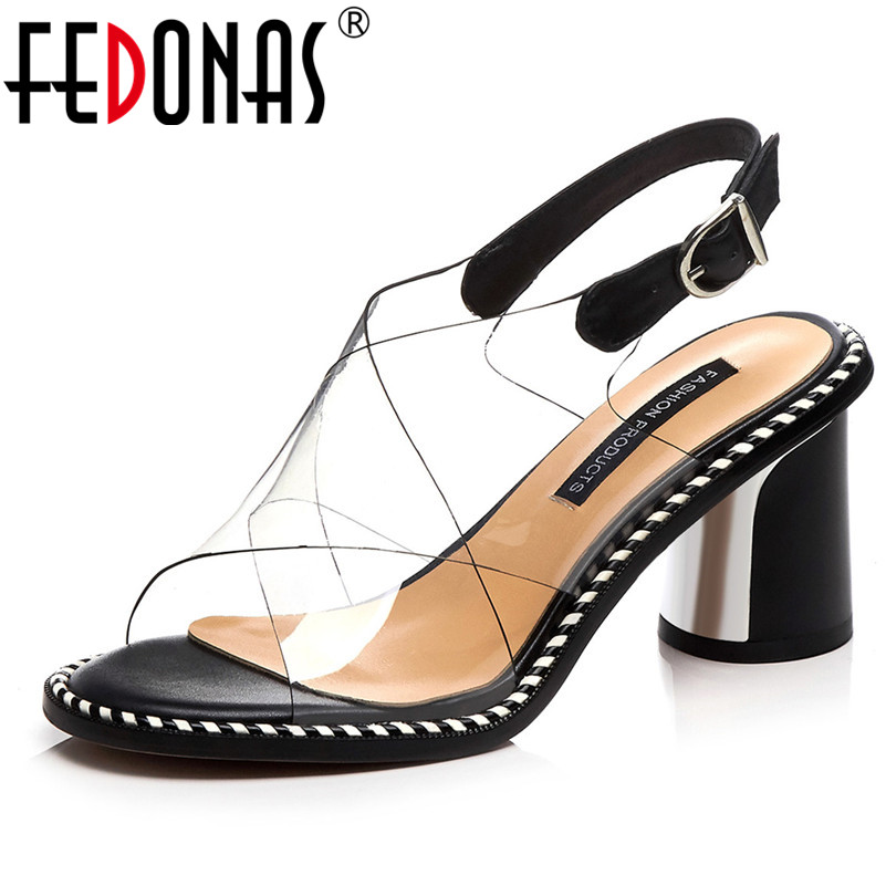 FEDONAS Women Pumps 2019 Sweets Casual Sandals Quality Genuine Leather Elegant Concise Shoes Woman Basic Square