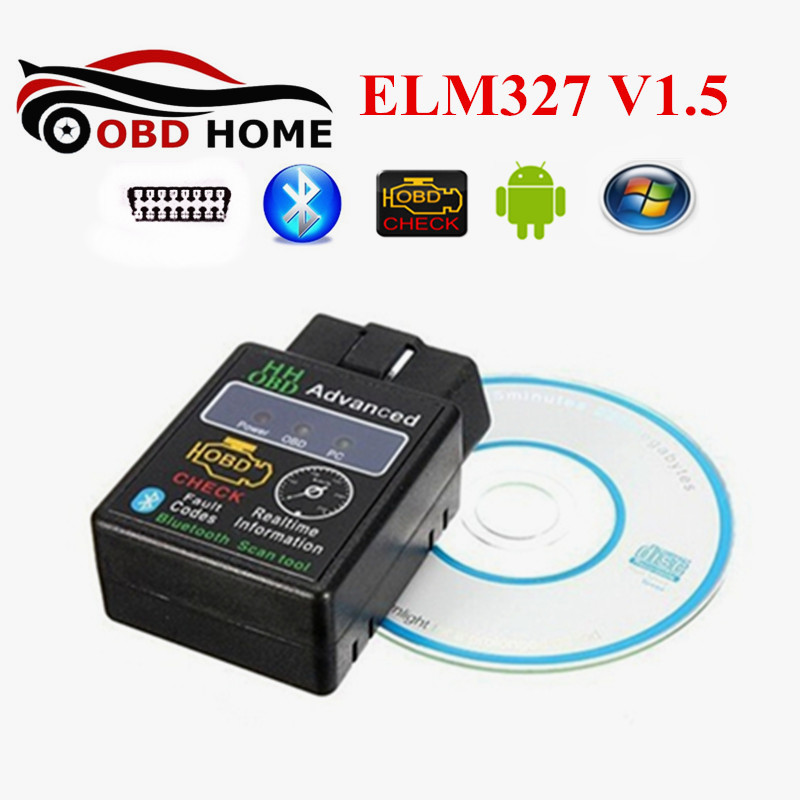 Prix pour 20 pcs/lot OBDII 25K80 Puce ELM327 Bluetooth V1.5 HH OBD ELM 327 Voiture De Diagnostic Fonctionne Sur Android Couple OBD2 ELM 327 Bluetooth