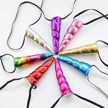 Hair Accessories Girls Chiffon Horn Unicorn Hairband Glitter Metallic Headband for Kids Party Elastic Rubber Band