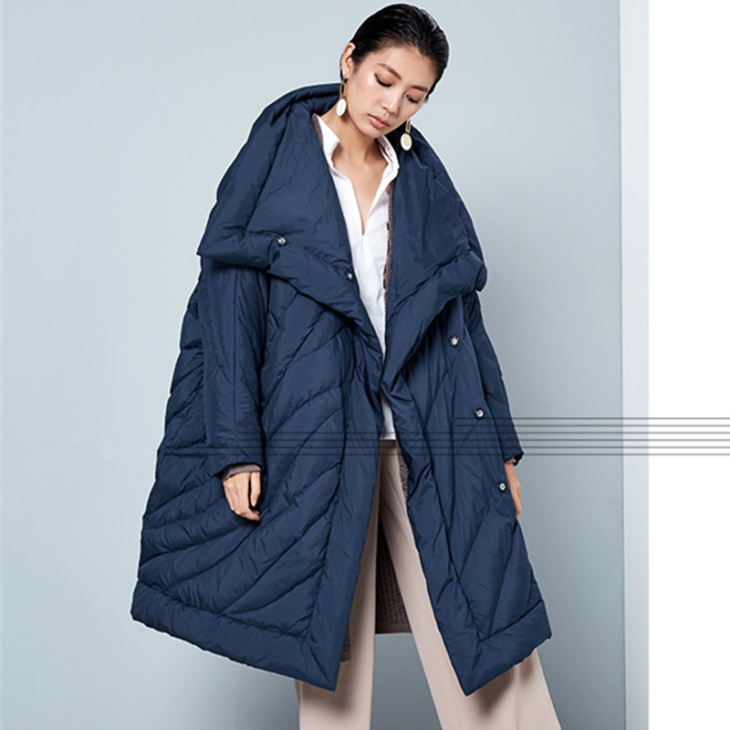 [AIGYPTOS-BC] Original Design Women Brief Winter casual stand collar loose warm coat oversized long 90%white duck down jackets