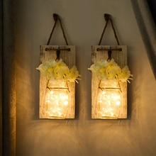 Luces de hadas Mason Jar apliques con LED Vintage ganchos de hierro forjado Flor de hortensia de seda y tira de luces LED decoración del hogar