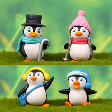 4 Pcs Cute Penguin Animal Craft Figurines Miniatures Fairy Garden Gnome Moss Christmas's Day Gift Resin Crafts Home Decoration(China)