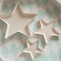 Nordic Style Storage Tray 3 Sets of Simple Phnom Penh Ceramic Storage Tray Round Decorative Plate Stars Jewelry Plate Ring Plate