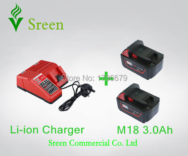 2pcs 3000mAh Lithium Ion Rechargeable Battery Packs with Power Tool Battery Charger Replacement for Milwaukee 18V M18 M14 XC power tool battery charger for bosch 14 4v bat038 bat040 bat041 bat140 bat159 2 607335264 2 607335276