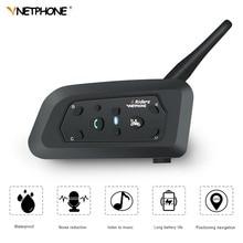 цена на VnetPhone V6 1200M BT Motorcycle Helmet Interphone 6 Rider Waterproof Wireless Bluetooth Moto Intercom Headset FM Radio Intercom