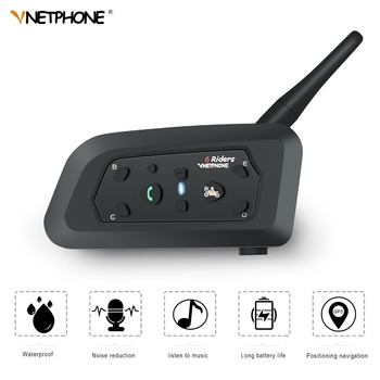 VnetPhone V6 1200M BT Motorcycle Helmet Interphone 6 Rider Waterproof Wireless Bluetooth Moto Intercom Headset FM Radio Intercom