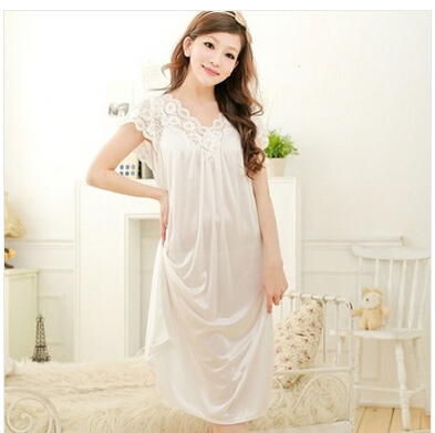 Sexy Nightdress Sleepwear Nightgowny02-1 Girls White Plus-Size Women Lace