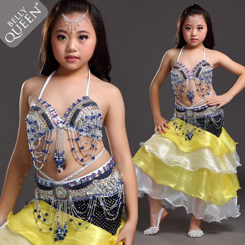 Nueva danza de vientre de las muchachas trajes borla Top BRA + correa +  falda 3 unids fijó para los juegos de la danza de vientre de las muchachas  4616 c7ccc5ad870