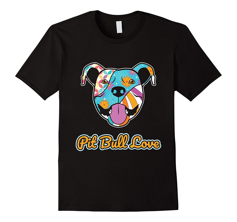 Hipster Tees Summer Mens T Shirt 2018 hot Summer funny cool Fashion Printed mens T Shirt Pit Bull Love Dog T-Shirt