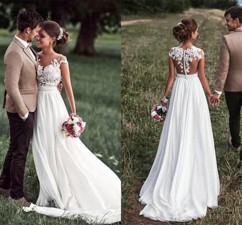 Romantique plage robe de mariée Boho dentelle Appliques en mousseline de soie transparent cou boutons dos Illusion pays robes de mariée robe de mariee