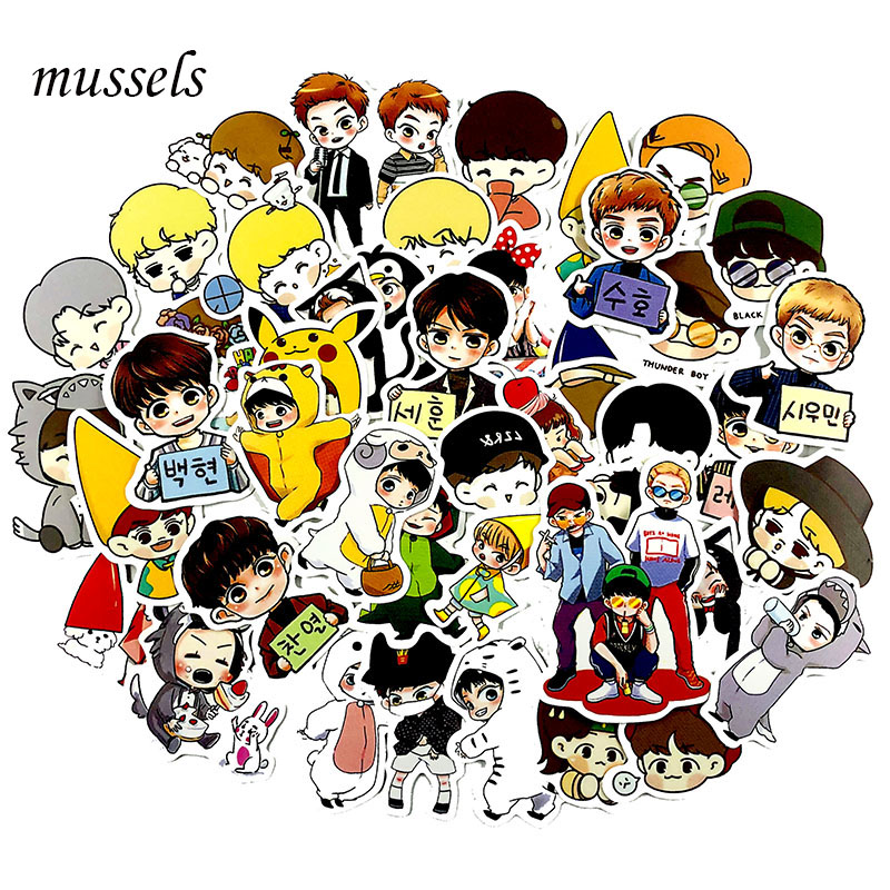 59Pcs/Set Q Version EXO Gratiffi Stickers Cute Hand Account Sticker For Luggage Laptop Phone Notebook Pegatinas Sticker For Gift