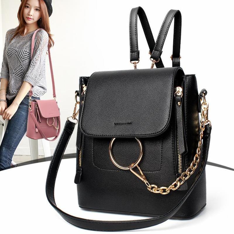 GLHGJP Women Backpack Multi-Functional Mini Fashion PU Leather School Bag For Teenagers Girls Shoulder Bolsa Mochila