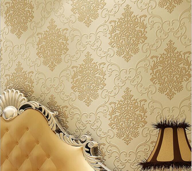 Papier peint damassé en relief de style européen de haute qualité