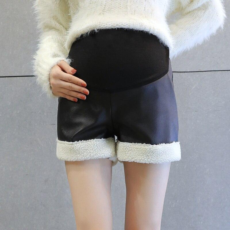 2017 new pregnant women leather pants thick winter plus velvet pants wear autumn and winter pants maternity