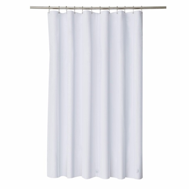 Elegant Waterproof White Polyester Fabric Extra Long Shower Curtains Liners Super Thicken Plain Mildew Resistant Washable