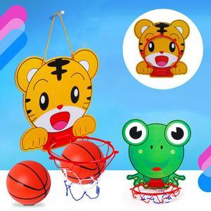 Подвесное баскетбольное кольцо для нетбола, регулируемое в помещении, с изображением тигра и лягушки