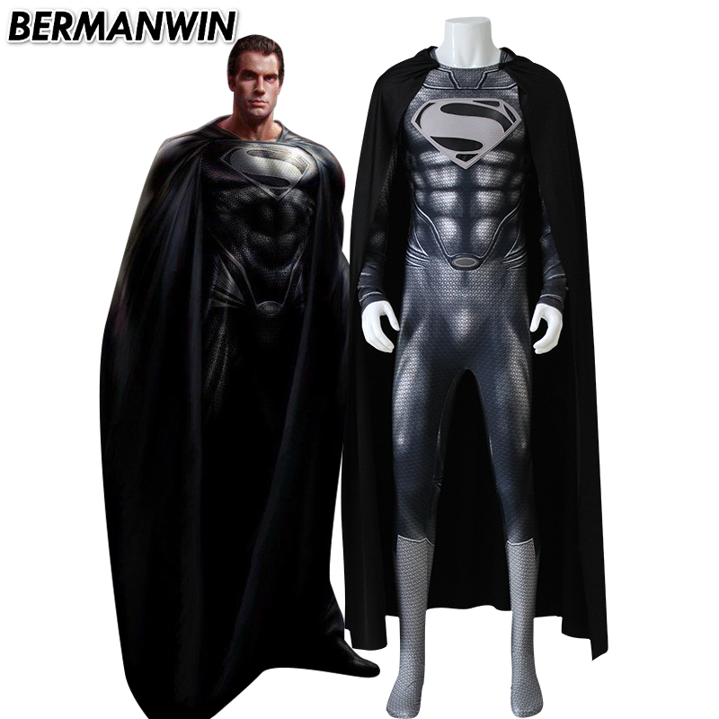 BERMANWIN High Quality Black Superman Costume Man of Steel Superman Suit with muscle shades Superhero Halloween Cosplay Costume-in Movie & TV costumes from Novelty & Special Use