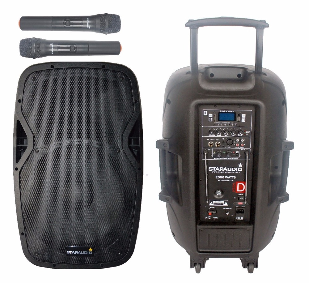 STARAUDIO 15 2500W Powered Battery font b Speaker b font PA DJ Karaoke KTV Stage MP3