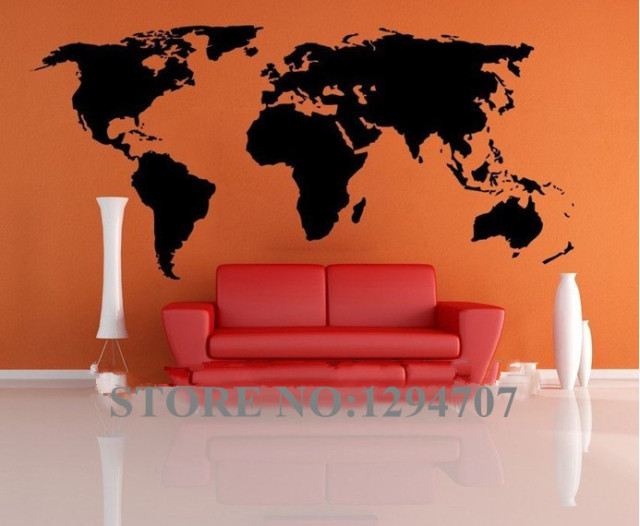 1 pcs 200x90cm best selling big global world map vinyl wall sticker