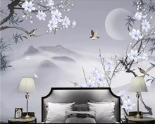 Beibehang Custom home background wall 3d wallpaper hand-painted bamboo Magnolia flower bird background wall decorative painting home decoration 3d landscape wallpaper stone wall flower lilac flower decorative painting decorative brick wall