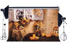 Photography Backdrops Halloween Pumpkin Fresh Flowers Autumn Harvest Greeting Leaves Vine Black Cat Photo Background
