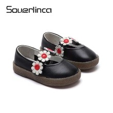 Souerlinca Baby Flower Girl Shoes Toddler Girl Shoes For Children's Footwear Princess Pink Breathable Child Shoe SL18-047(China)
