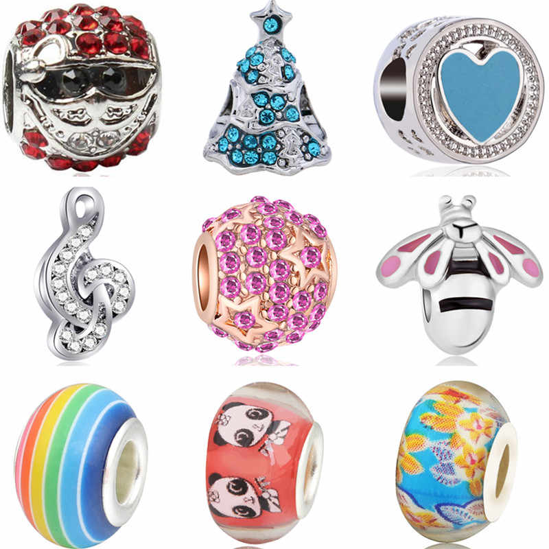 High Quality Candy Color Tree Santa Claus Moon Flowers Beads Charms Fit Pandora Bracelets for Women Christmas DIY Jewelry Bijoux