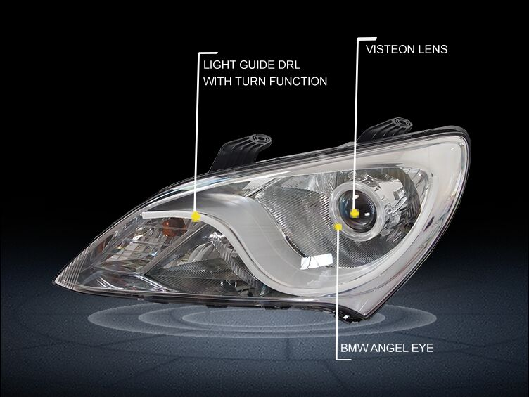 купить Guangzhou SANVI Bi Xenon Car Headlight Assembly for Hyundai Elantra 2011-2015 Hi-Low Beam Projector Lens with hid headlight bulb недорого