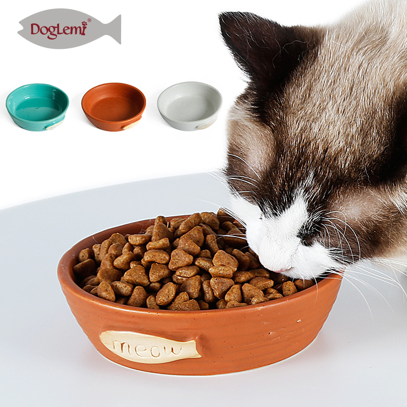 Free shipping! Nature Cat Bowl Ceramic Cat Kitten Food Feeder Bowl 3 colors image