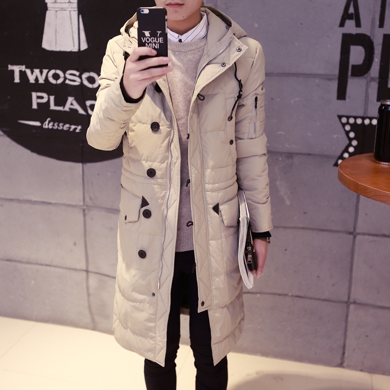 In the long winter jacket men Korean slim type long paragraph knee Hooded Coat thick white eiderdown