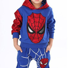 2016 New Winter Spider Man Hooded Sweater Suit Children Cartoon 2 Piece Hooded Boys Suit Cosplay Hoodies Trousers Free Shipping