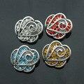 4 cores Bohemian cristal 18mm de metal botão de pressão gengibre M697 DIY pulseira De relógios De Pulso para mulheres sterling jóias um direção