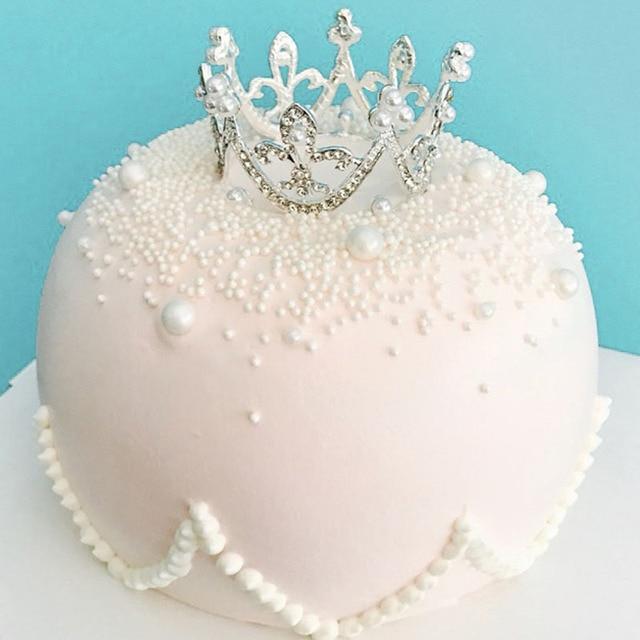 Cake Toppers Crystal Diamonds Pearl Crown Wedding Birthday Cake