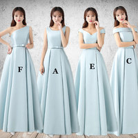 Mingli Tengda Long Bridesmaid Dress with Bow Sash Wedding Party Satin Dress Elegant Women Dress Long Bridesmaid Dresses Simple