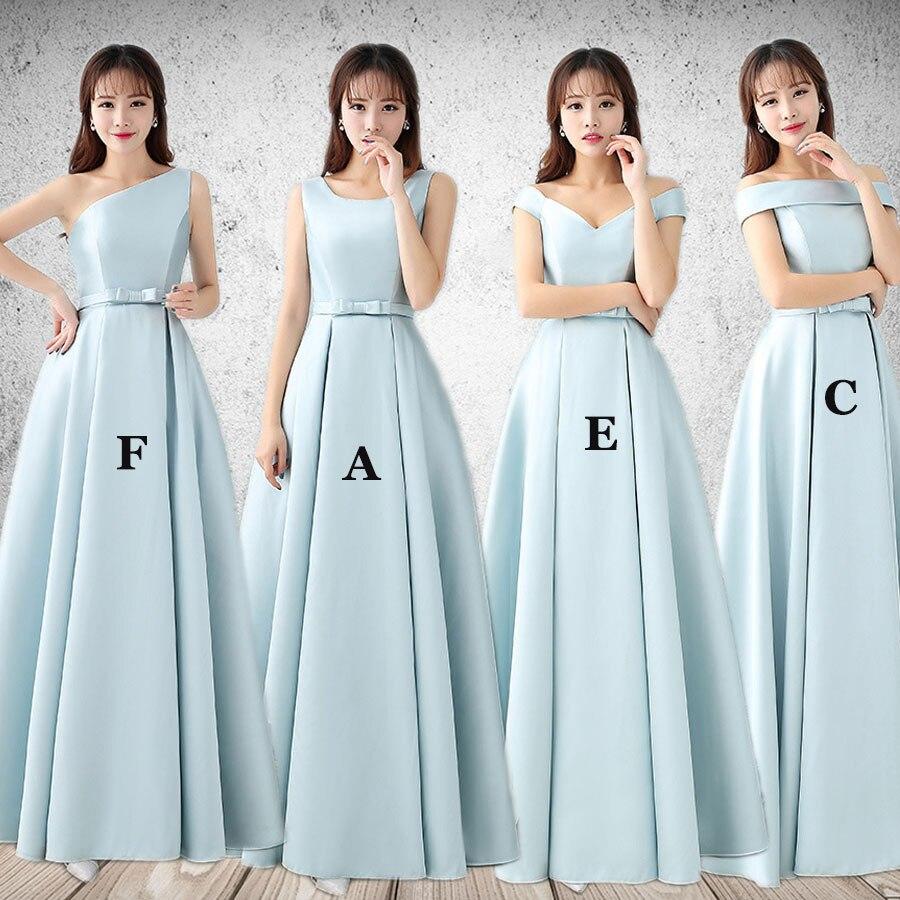 Tengda Mingli ארוך שושבינה שמלה עם Bow מסיבת חתונת אבנט סאטן ארוך שמלה אלגנטי נשים שמלה פשוטה שמלות שושבינה