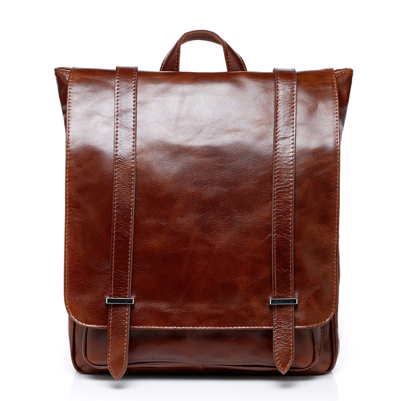 100% Genuine Leather Men Backpack Vintage Oil Wax Cow Leather Men's Travel Bag Fashion Design Backpack Available for 14