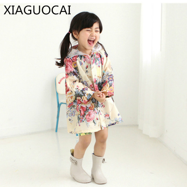 2018 New Arrivals Children waterproof Long Coat Rain Wear Girls Flowers Hooded Kids Lovely Hot Selling Fashion Clothes D19 10