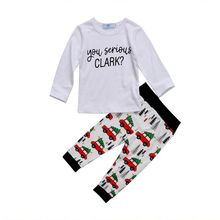 Adorable Kid Boys Cotton Long Sleeve T-shirt Tops Xmas Tree Pant Clothes Outfits Set 2019